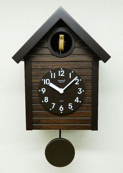 鳩時計レトロ さんてる 日本製 振り子はと時計 SQ04AN アンティークブラウン 国産 手作り