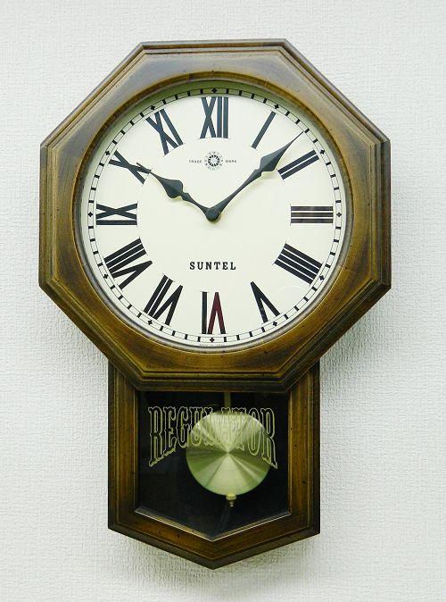 さんてる 8角スタンダード振り子時計 電波振り子ムーブメント SR07-R サンテル 日本製