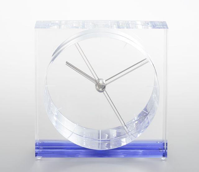 ユニークなデザイン!Lemnos レムノス アクリル置き時計 IRIS イリスブルー SSL14-09BL
