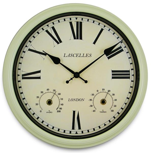 屋内屋外兼用!温湿度計付き掛け時計 ロジャーラッセルRogerLascelles社製 Metal Outdoor Clock  36cm掛け時計 TS-LASC-OD-CRM