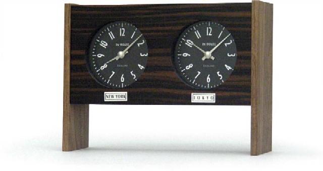 二カ国の時刻を表示する木目が綺麗なデュアルクロック INHOUSEインハウス製置き時計 EBONY TIME TZ42EV