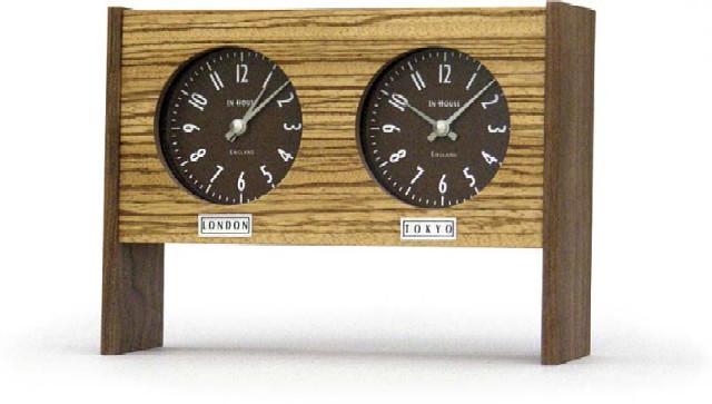 二カ国の時刻を表示する木目が綺麗なデュアルクロック INHOUSEインハウス製置き時計 ZEBRANO TIME TZ42ZV