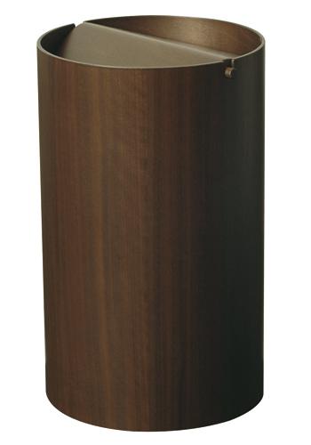 木目が綺麗でスマートな蓋付きゴミ箱 ウォルナットwood WN954A φ22×35.5cm