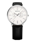 BERING腕時計 ベーリングリストウォッチ BERING Mens Calf Leather&Nylon14240-404 ホワイト×シルバー