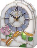 繊細な美のステンドグラス!置き時計 ステンドグラス ローズ柄 RHG-S80 4SG795HG03 リズム時計