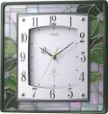 繊細な美のステンドグラス!エミュエールM9F スクエア 8MY482EN05 掛け時計 リズム時計 無料名入れ