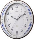 どこまでも優美に佇む有田焼きの掛け時計!エミュエールM10  8MY485EJ11 磁器掛け時計 リズム時計 無料名入れ