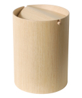 木目が綺麗でスマートな蓋付きゴミ箱 ホワイトオークwood952HA φ20×28.5cm