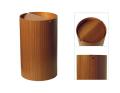木目が綺麗でスマートな蓋付きゴミ箱 チーク木目wood954TA φ22×35.5cm