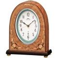 精緻な細工が目を引くエレガントな木象嵌!セイコーメロディ置時計エンブレム SEIKO電波置き時計 HW573B