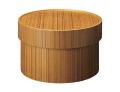 温かみのある木の質感がお洒落 ラウンドボックス  チーク調 wood SB-01T