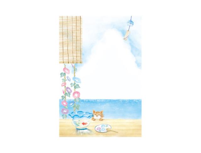 縁側にネコと海
