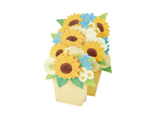 ヒマワリと夏の花かご