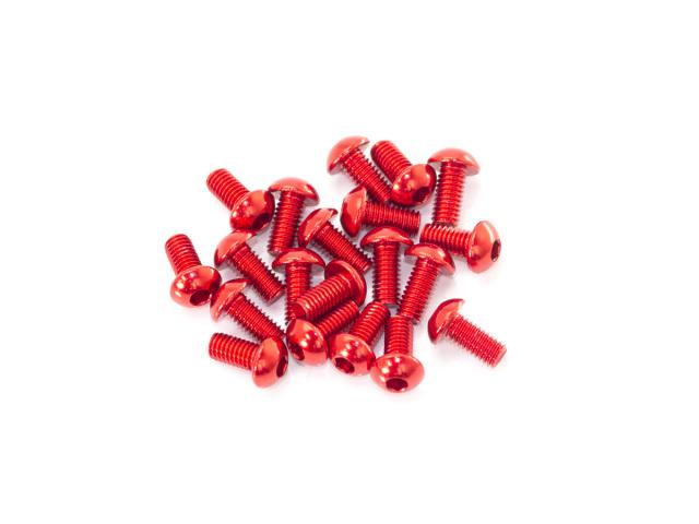 [B01306-AR] M3x6mm ALU BUTTON HEAD SCREW (Red/20pcs)