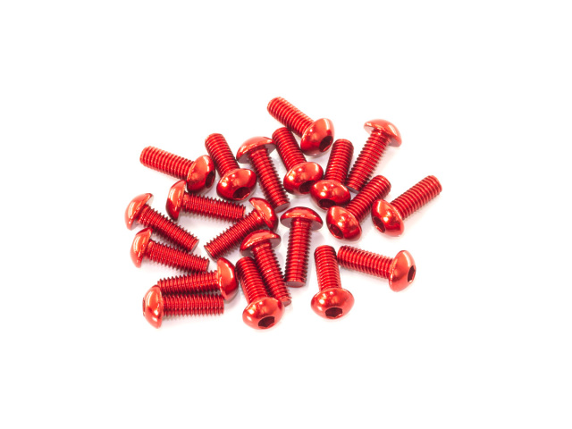 [B01308-AR] M3x8mm ALU BUTTON HEAD SCREW (Red/20pcs)
