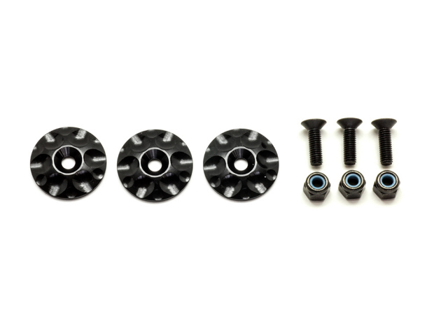 [SMJ1052] 1/8GT ALUMINUM WING BUTTONS (Black/3pcs)