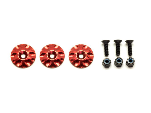 [SMJ1053] 1/8GT ALUMINUM WING BUTTONS (Red/3pcs)