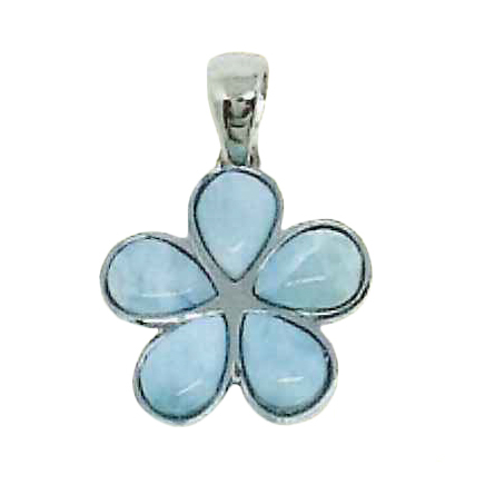 Larimar Stone Jewelry プルメリアネックレス