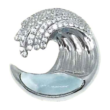 Larimar Stone Jewelry ウェイブジルコニアネックレス