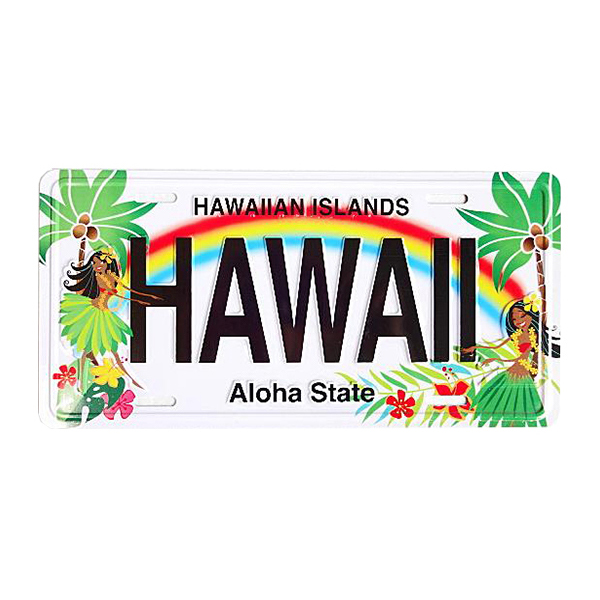 アルミ製ハワイアンライセンスプレート フラハニー