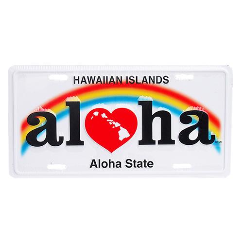 アルミ製 ハワイアンライセンスプレート アロハ