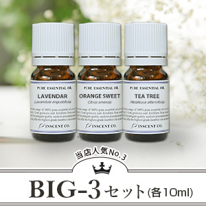 『BIG-3セット』 ※当店上位人気3銘柄(1位~3位)のスペシャルセットです!!(日本アロマ環境協会/表示基準適合認定精油/インセント)