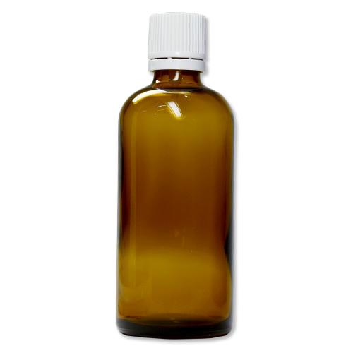 茶色遮光ガラス瓶 100ml (白キャップ/ドロッパー付)