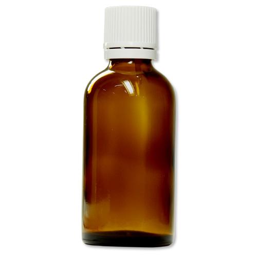 茶色遮光ガラス瓶 50ml (白キャップ/ドロッパー付)