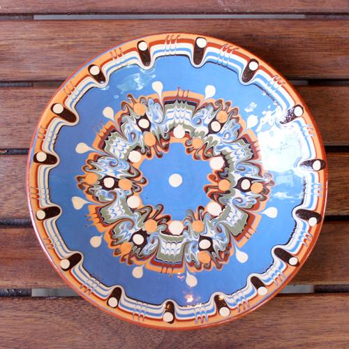 トロヤン陶器 プレート(ブルー)