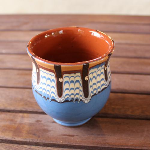 トロヤン陶器 カップ(ブルー)