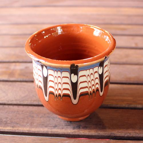 トロヤン陶器 カップ(ブラウン)