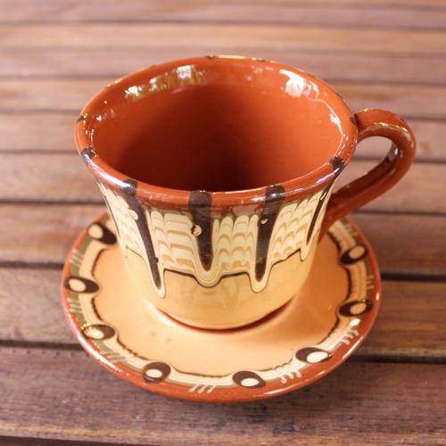 トロヤン陶器 カップ&ソーサー(イエロー)
