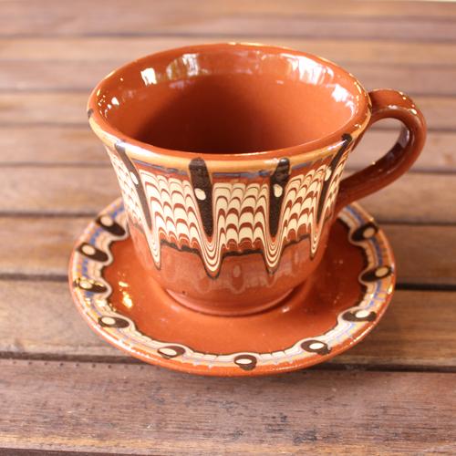 トロヤン陶器 カップ&ソーサー(ブラウン)