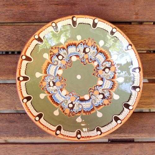 トロヤン陶器 プレート(グリーン)