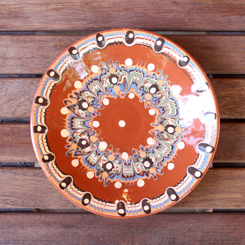 トロヤン陶器 プレート(ブラウン)