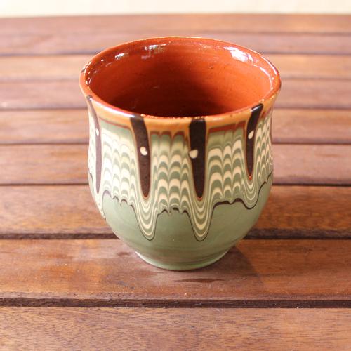 トロヤン陶器 カップ(グリーン)
