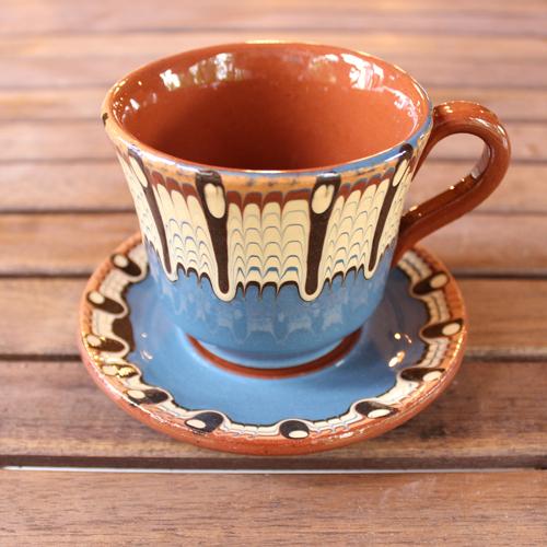 トロヤン陶器 カップ&ソーサー(ブルー)