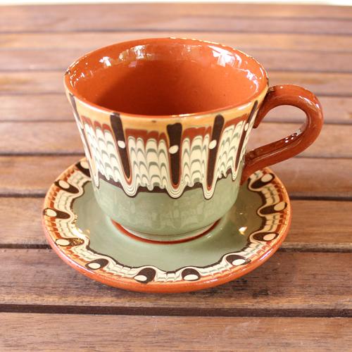 トロヤン陶器 カップ&ソーサー(グリーン)
