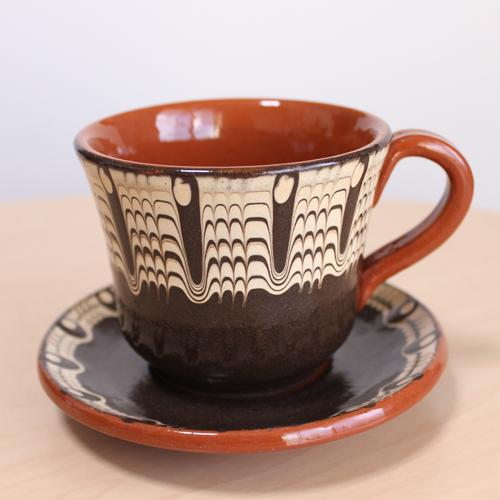 トロヤン陶器 カップ&ソーサー(ブラック)