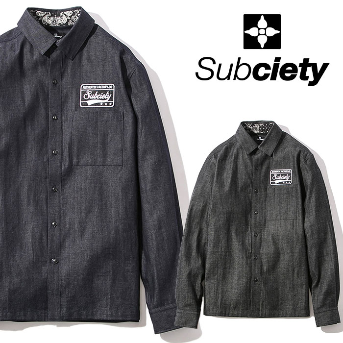SUBCIETY(サブサエティ) EMBLEM SHIRT DENIM L/S 【2018AUTUMN/WINTER新作】【107-20322】