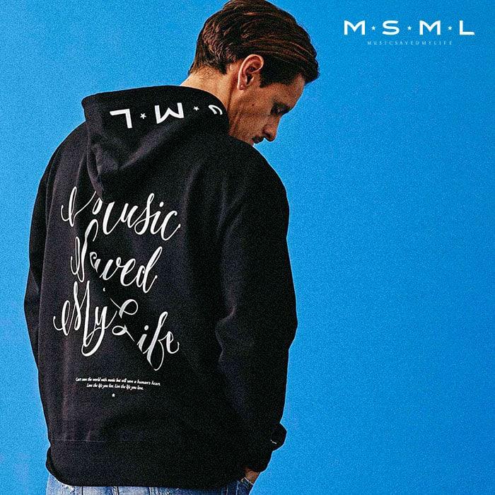 MSML(MUSIC SAVED MY LIFE)(エムエスエムエル) BACK CURSIVE HOODIE 【スウェット パーカー】【ストリートファッション ロック バ