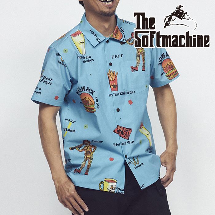 SOFTMACHINE(ソフトマシーン) LOVIN'IT SHIRTS S/S(S/S SHIRTS) 【シャツ 半袖】【ホワイト ブルー タトゥー】【2021 SUMMERVACATI