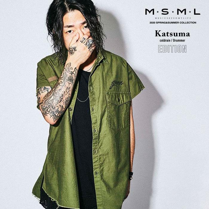 MSML(MUSIC SAVED MY LIFE)(エムエスエムエル)  MILITARY GRUNGE SHIRT 【ミリタリーシャツ 半袖】【ストリートファッション ロッ