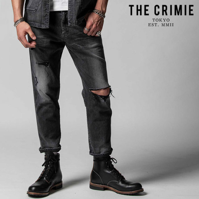 "CRIMIE(クライミー) BORN AGAINST STRETCH BLACK GARAGE USED CROPPED JEANS 【""THE"" SERIES COLLECTION 先行予約】【定番商品】【"
