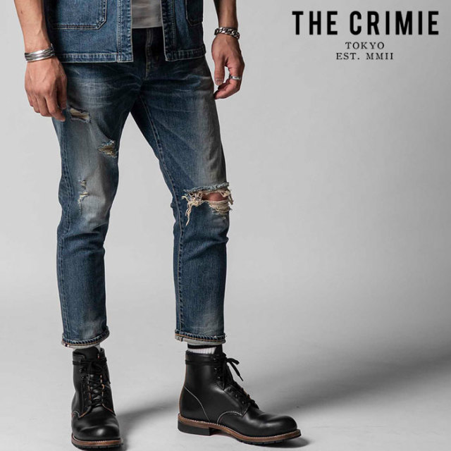"CRIMIE(クライミー) BORN AGAINST STRETCH SELVEDGE GARAGE USED CROPPED JEANS 【""THE"" SERIES COLLECTION 先行予約】【定番商品"