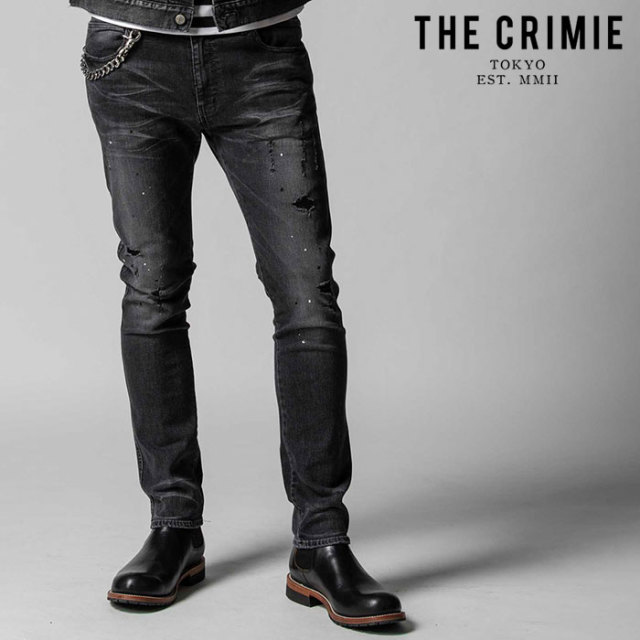 "CRIMIE(クライミー) BORN FREE STRETCH BLACK GARAGE USED SLIM JEANS 【""THE"" SERIES COLLECTION 先行予約】【定番商品】【キャン"