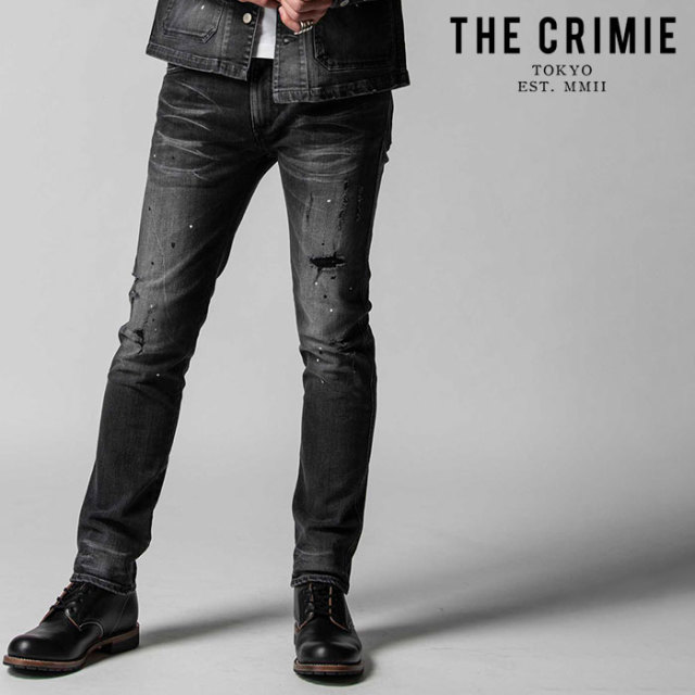 "CRIMIE(クライミー) BORN FREE II STRETCH BLACK GARAGE USED SLIM STRAIGHT JEANS 【""THE"" SERIES COLLECTION 先行予約】【定番商"