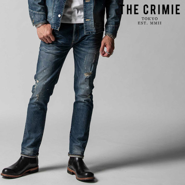 "CRIMIE(クライミー) BORN FREE II STRETCH SELVEDGE GARAGE USED SLIM STRAIGHT JEANS 【""THE"" SERIES COLLECTION 先行予約】【定"