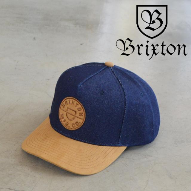BRIXTON(ブリクストン) CREST C MP SNAPBACK(DENIM/CARAMEL SUEDE) 【キャップ 帽子】【ブリクストン キャップ 定番 人気 シンプル