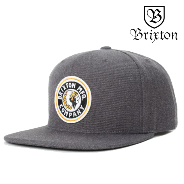 BRIXTON(ブリクストン) RIVAL SNAPBACK CAP(Heather Charcoal) 【スナップバックキャップ 帽子 6パネル】【チャコールグレー】【20